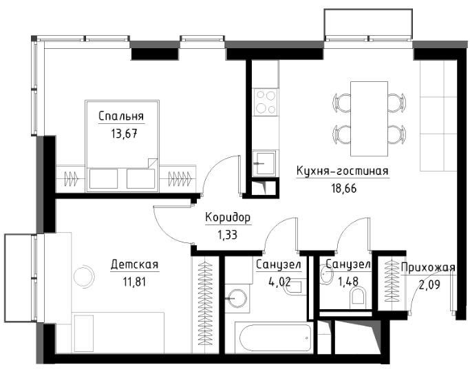 план двухкомнатной квартиры в ЖК метрополия