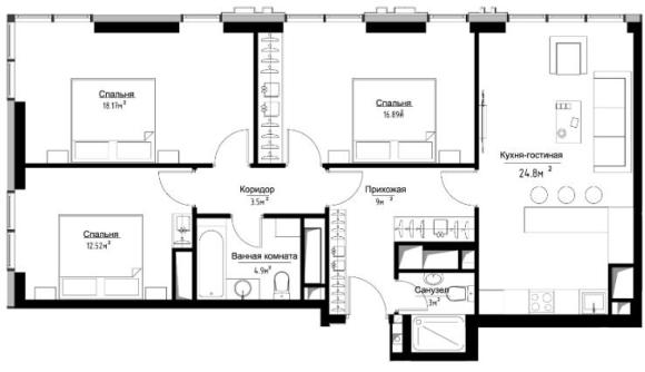план трехкомнатной квартиры в ЖК метрополия