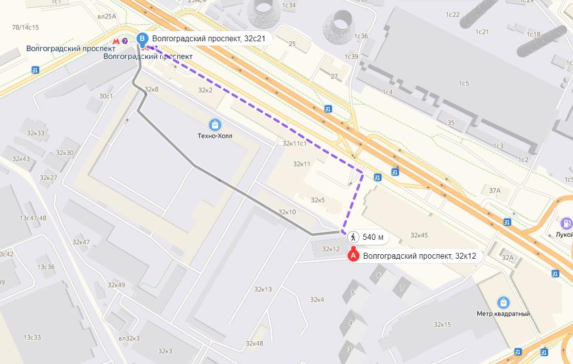 Путь от метро Волгоградский проспект в ЖК Метрополия