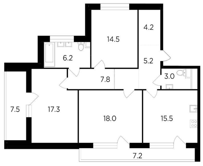 трехкомнатная квартира жк ривер скай