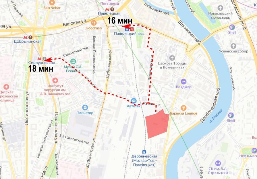ЖК Дербеневская 20 на карте