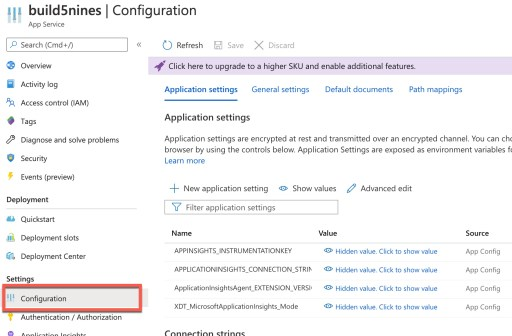 Azure Web App: Application Settings 1