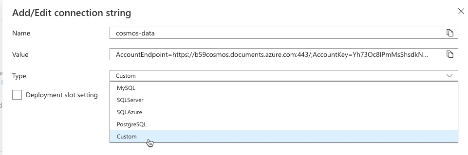 Azure Web App: Connection Strings 2