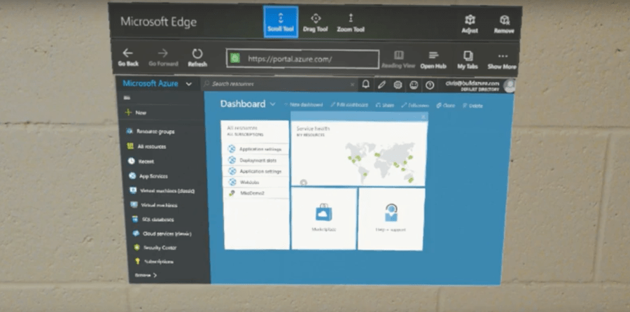 Using Azure Portal with HoloLens