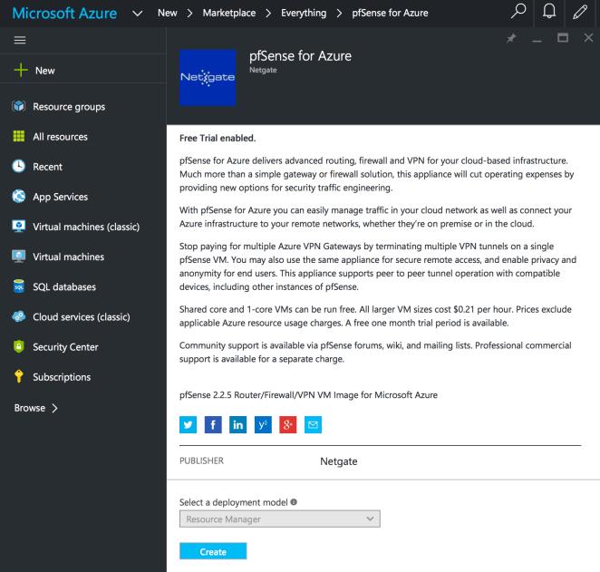 AzureMarketplacepfSenseNetgate