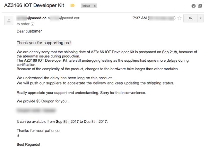 Azure IoT Developer Kit (AZ3166) Manufacturing Delayed, Shipping pushed to Sept 21
