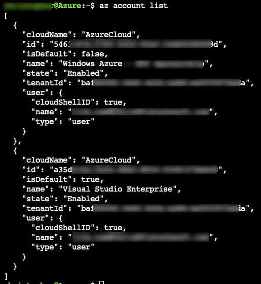 Azure CLI 2.0: List and Set Azure Subscription 2