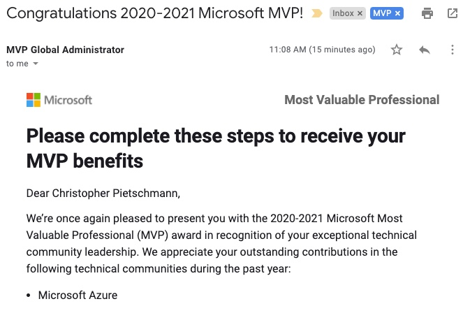 Congratulations 2020-2021 Microsoft MVP!