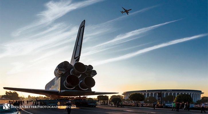 Space Shuttle Endeavor spends time in Inglewood, CA.