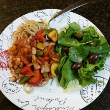 Simple Supper :) veggie sauce - multi-colored peppers, onions, navy beans over Hodgson Mill Ultragrain and quinoa spaghetti with a side salad and Trader Joe's Greek olive medley