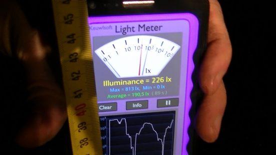 A 46 cm, la luminosité est de 226 lx