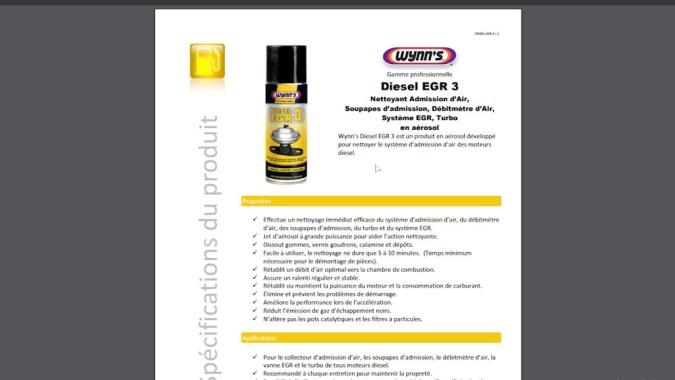 Le produit Wynn's EGR3 peut nettoyer l'admission d'air, les soupapes d'admission, le débitmètre d'air, le système EGR et le turbo