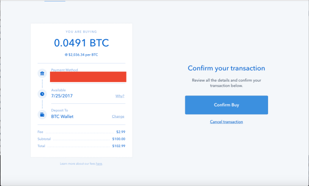 Coinbase Buying Bitcoin Confirmation