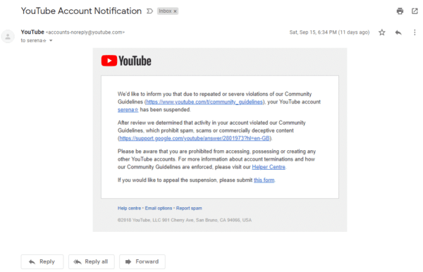 YouTube email list