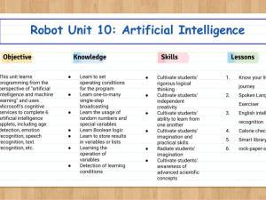 Robot Unit 10: Artificial intelligence