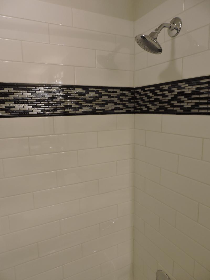 4x16 Subway With Dark Interlock Mosaic Tile Shower Cincinnati