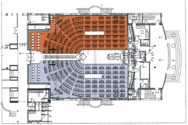 Seating layout plan for the remodelled chambers