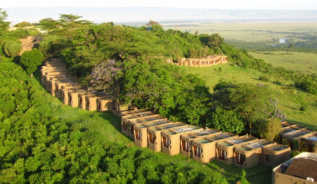 An aerial view of the cottages at Mara Serena