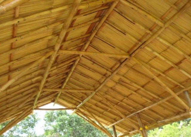 A ceiling done using flattened bamboo
