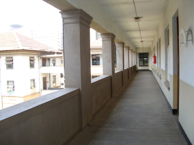The corridors facing the courtyard with white wall paint