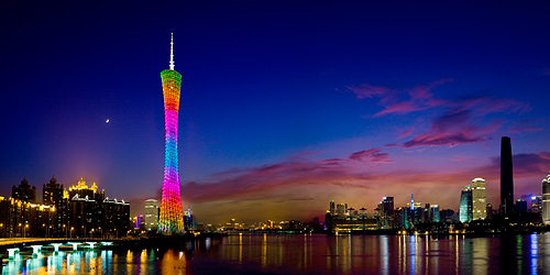 The Canton Tower lighting up the city in the evening