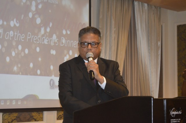 Basco paints MD Mr. Kamlesh Shah making his remarks at the dinner