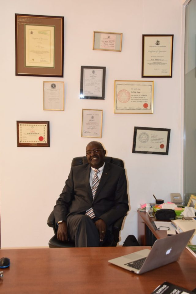 Arch. Phillip Kungu in his Nairobi office