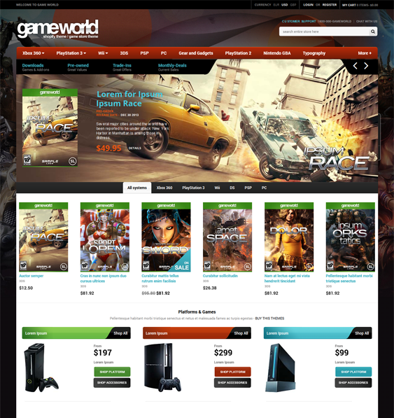 gameworld dark shopify theme