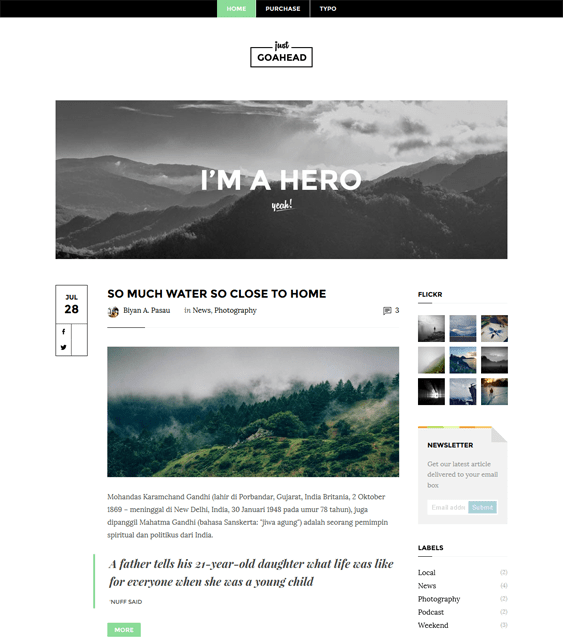 go ahead minimal blogger theme