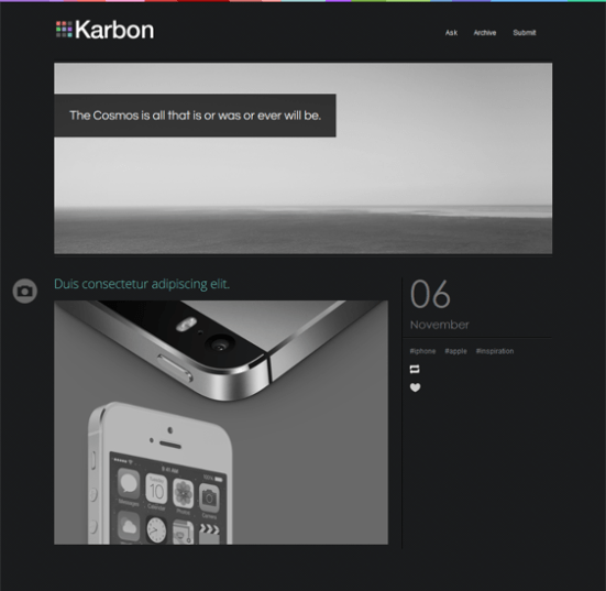 karbon dark tumblr theme