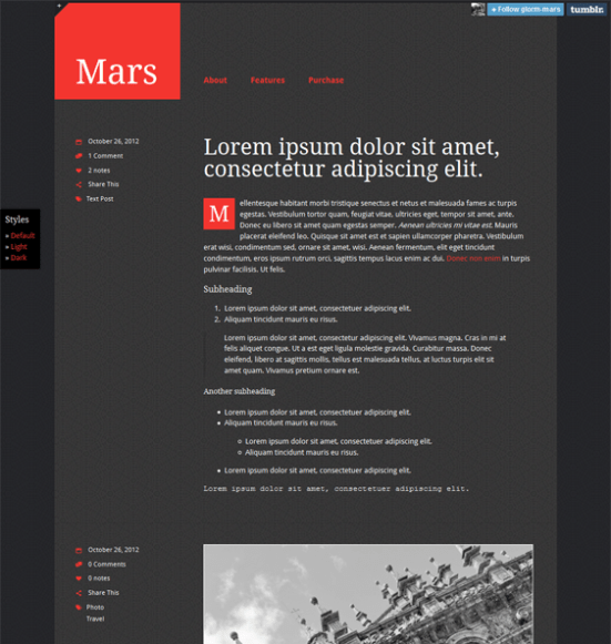 mars dark tumblr theme