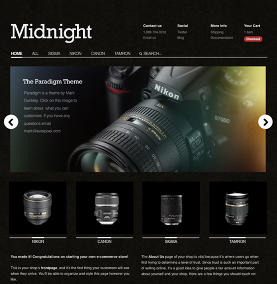 midnight dark shopify theme