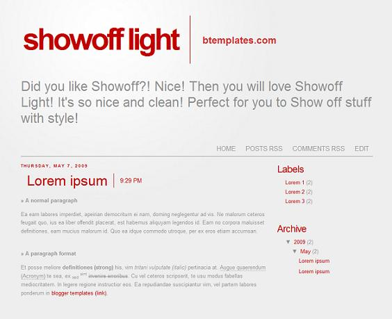 showoff minimal blogger theme