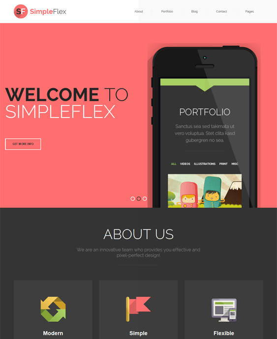 simpleflex one page drupal theme