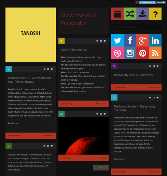 tanoshi dark tumblr theme