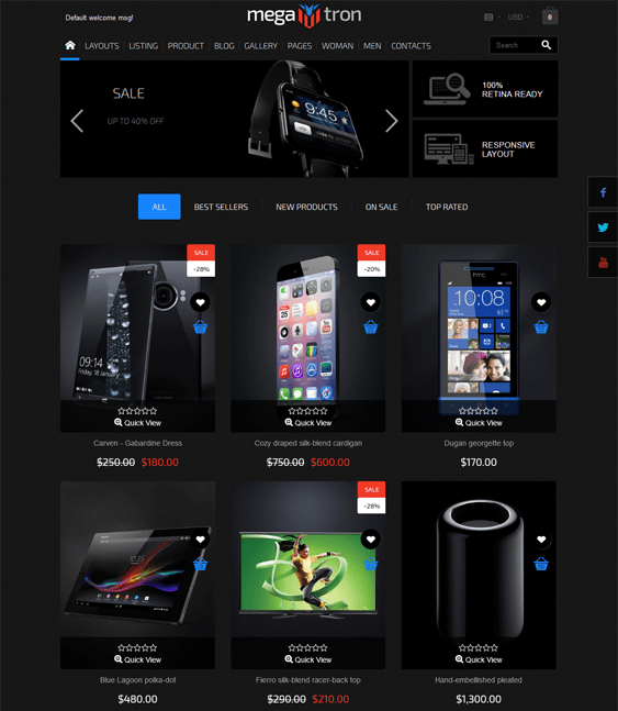 megatron dark shopify theme