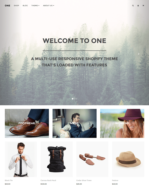 one minimal shopify theme