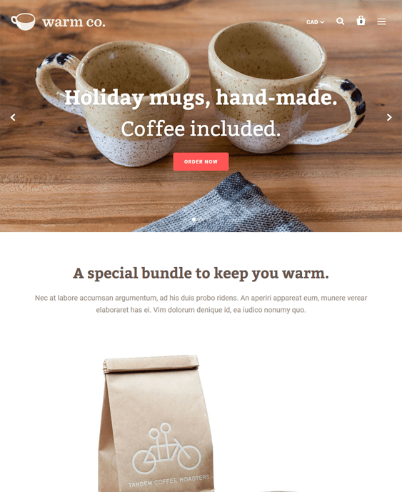 startup food drink shopify themes