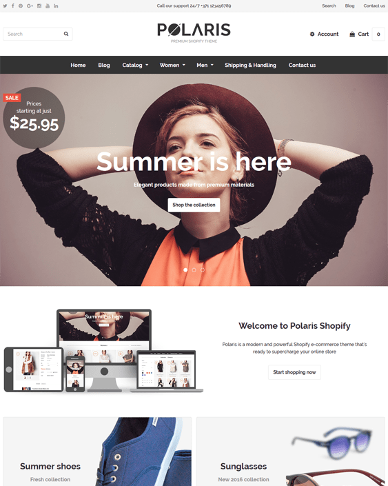polaris minimal shopify themes