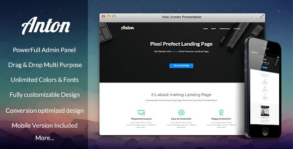 Anton Pagewiz Multi-Purpose Landing Page Template by Sweetheme (landing page template for PageWiz)
