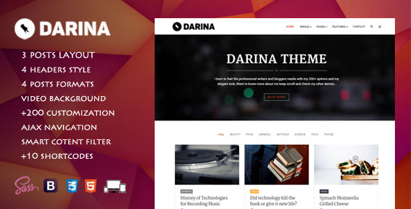 Darina by Be-Square (magazine WordPress theme)