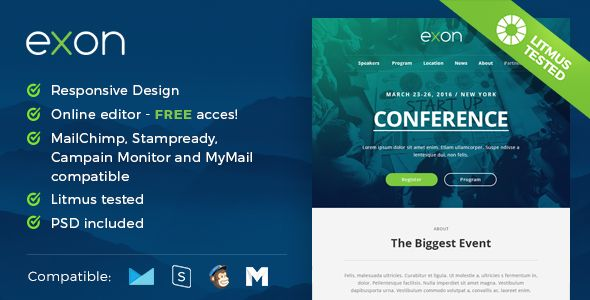 Exon by MaestoMail (email templates for use with Mailchimp)