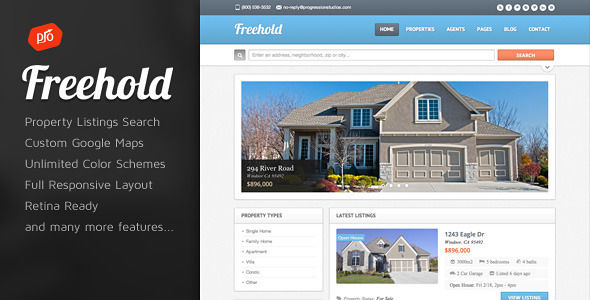 Freehold by ProgressionStudios (real estate and realtor WordPress theme)