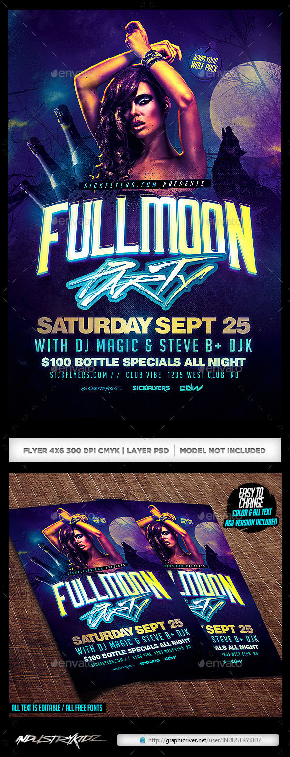 Full Moon Party Flyer by INDUSTRYKIDZ (Halloween party flyer)