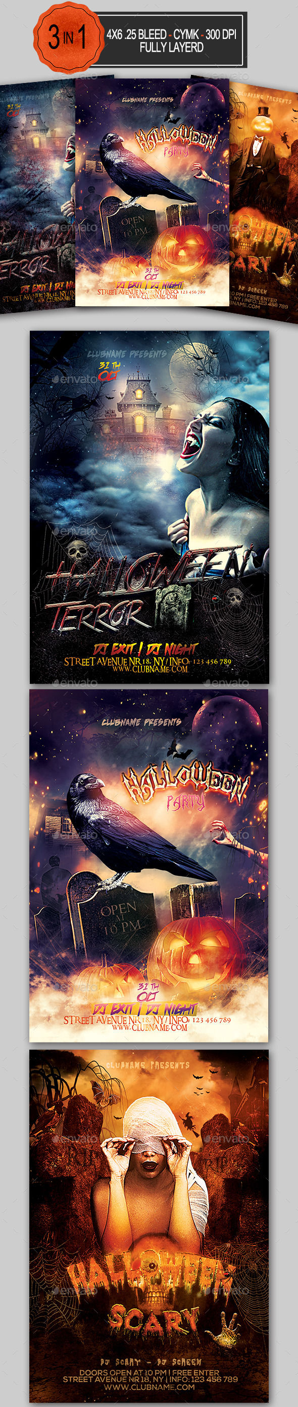 Halloween Flyer Bundle by Ionescu_stefania (Halloween party flyer)