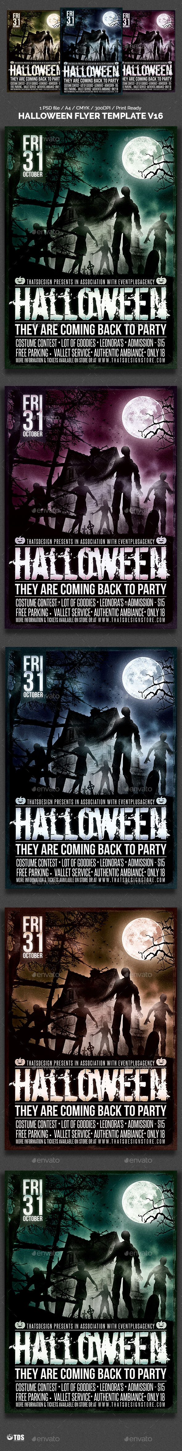 Halloween Flyer Template V by Lou606 (Halloween party flyer)