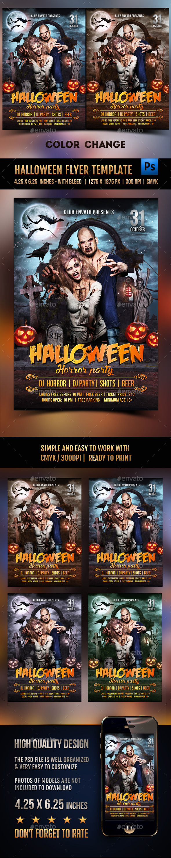 Halloween Flyer Template by Rembassio (Halloween party flyer)