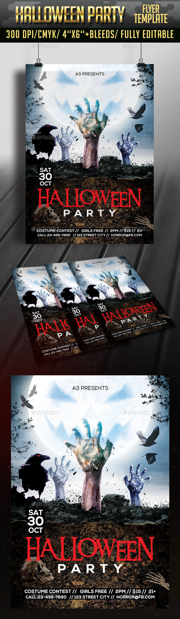 Halloween Flyer Template by Arrow3000 (Halloween party flyer)