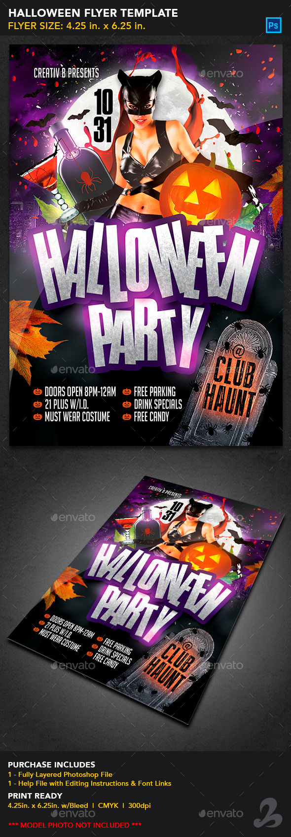 Halloween Party Flyer Template by CreativB (Halloween party flyer)