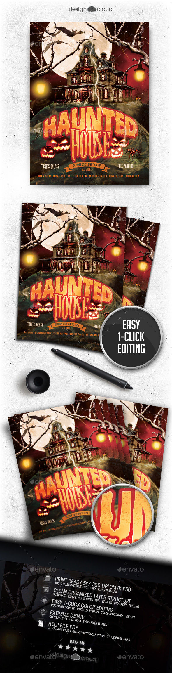 Haunted House Flyer Template by Design-Cloud (Halloween party flyer)